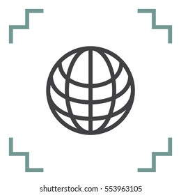 World sign line vector icon. Globe vector icon. Earth symbol. ravel sign. Internet network symbol. Global connect network