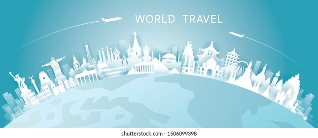 World Skyline Curve Landmarks in Paper Cutting Style, Famous Place and Historical Buildings, Travel and Tourist Attraction