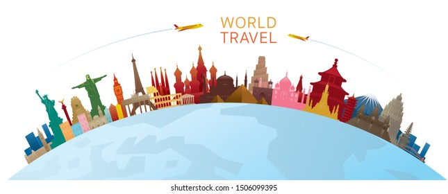 World Skyline Curve Landmarks Silhouette Colorful, Famous Place and Historical Buildings, Travel and Tourist Attraction