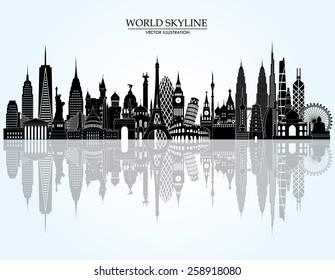 World skyline detailed silhouette. Vector illustration