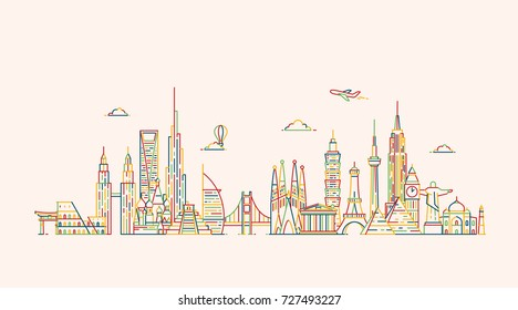 World skyline. Travel and tourism background. Famous buildings and monuments