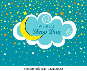 World Sleep Day. International holiday.  Space for text. Night time sky. Mint background with gold moon, coloful star and cloud. Horizontal banner. Vector illustration.