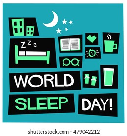 World Sleep Day (March 18 Flat Style Vector Illustration Quote Poster Design)
