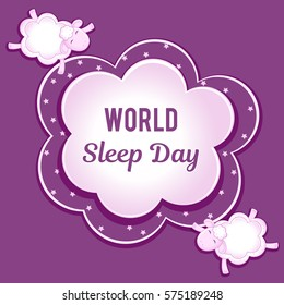 World Sleep Day. Sheep from the clouds fly with his eyes closed. Space for text.