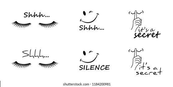 World sleep day shhh zzz silent please be quiet please smiley smile silence finger over lips Face no sound off flat icon vector Hearing sssh whisper mouth hand no talking mute eye lashes dream day