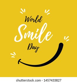 World Smile Day. International Day of Happiness.  Lettering in boho style for print and posters. Vector Template Design Illustration.
