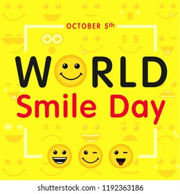 World Smile Day with lettering and smiling emoticon, october 5th. Happy yellow smiley in a flat design and text World Smile Day on yellow background. Vector emoticon joy icons