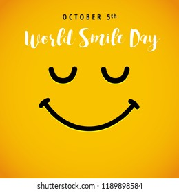 World Smile Day october 5th banner. Winking smiley and lettering World Smile Day on yellow background. Vector illustration