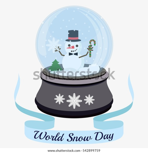 World Snow Day. Christmas snow ball with little snowman and snowflakes. Flat vector stock illustration