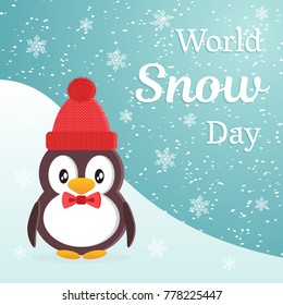 World Snow Day theme design. Cute cartoon penguin wearing a warm hat and tie a butterfly against the background of a snow slide. Flat style vector illustration.