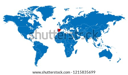 Map Of The World Spain.World Spain Map Stock Vector Royalty Free 1215835699 Shutterstock