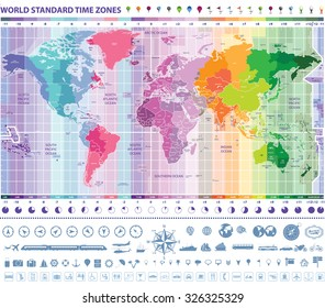 world standard time zones map with clocks, navigation and travel icons