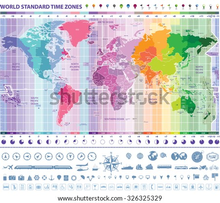 World Standard Time Zones Map Clocks Stock Vector Royalty Free