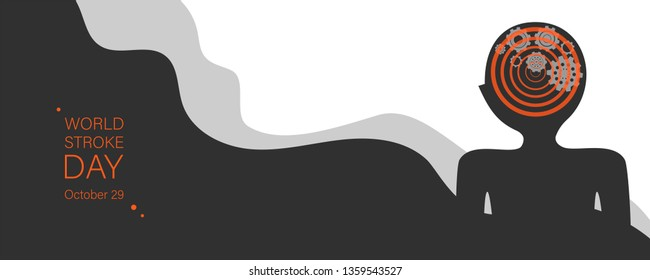 World stroke day vector banner template. Human brain apoplexy abstract illustration. Cogwheels mechanism neuron system.Ischemic brain disease awareness. Cerebral infarction prevention