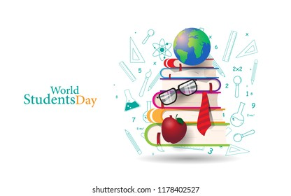 world students day concept with book, globe, and more