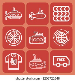 World, submarine, little submarine, delivery, wheel, tires icon set suitable for info graphics, websites and print media and interfaces