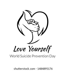 World Suicide Prevention Day, love yourself vector