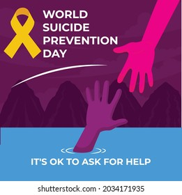 World suicide prevention day with one hand helping other to get out of water.