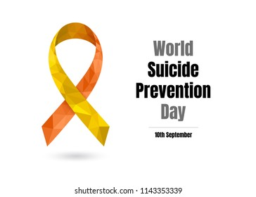 World Suicide Prevention Day (September 10) concept with awareness ribbon. Colorful vector illustration for web and printing.