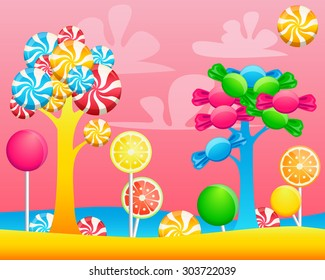 World of sweets candies. Game Design. Vector illustration