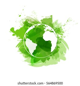 World symbol on green watercolor paint background for ecology friendly concept, Vector illustration
