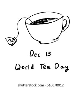 World Tea Day December 15th hand drawn sketch vector illustration