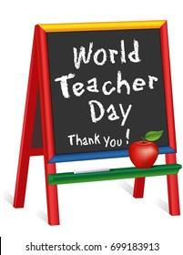 World Teacher Day, Thank You!  Chalkboard Easel for Children, Apple for the Teacher, for classroom, education, school events.  Observed October 5 in over 100 countries. EPS8 compatible.
