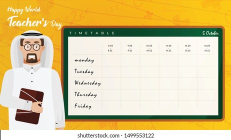 world teacher's day with arabia teacher and  timetable flat style