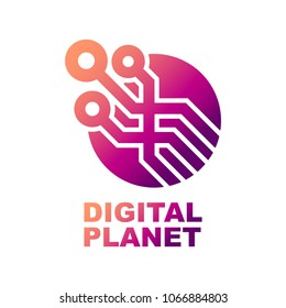 World Tech Logo Design Template. Abstract digital shape concept for modern technologies. EPS 10