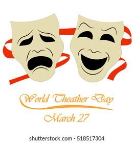 World theatre day, march 27, drama icon mask