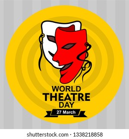 World theatre day vector greeting card