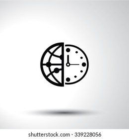 World time flat sign icon