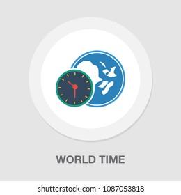 world time illustration, global time map zone symbol