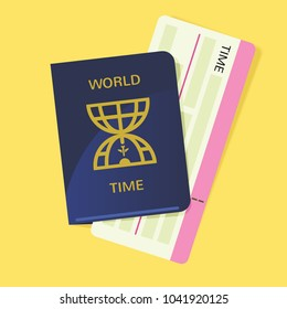 World time passport with boarding pass infographic illustration vector art for travel guide