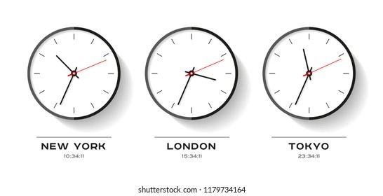 World time. Simple Clock icons in flat style. New York, London, Tokyo. Watch on white background. Business illustration for you presentation. Vector design objects.