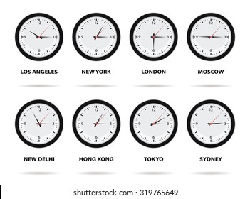 World Time Zones, eight different cities