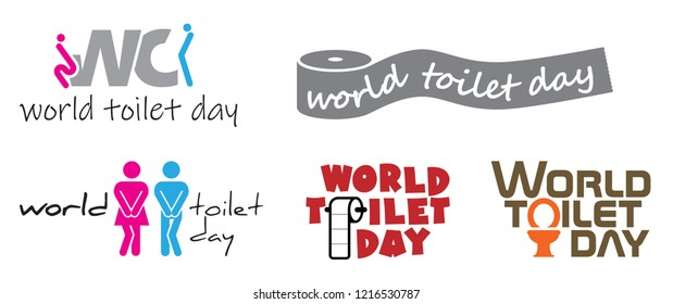 World toilet day 19 november People man and lady woman toilets WC boy girl restroom wc flat icon pictogram symbol sign clipart haste hurry gender fun funny door plate symbols vector eps icon glyph