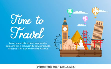 World Tour, Vacation Flat Color Horizontal Banner. Time to Travel Calligraphy. Vintage Suitcase on Famous Landmarks Background. Tourist Attractions Vector Drawing. Big Ben, Torii Gate, Pyramids