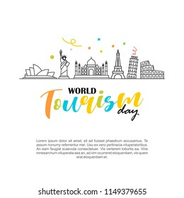 World Tourism Day logo vector illustration