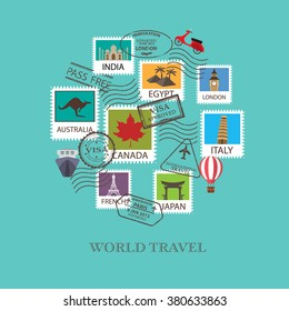 world travel  background. stamp and visa, can be use for greeting and invitation card.  background , backdrop. flat design. vector illustration