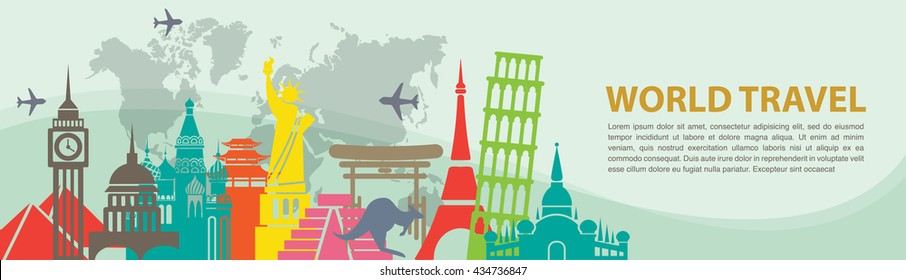 World Travel Banner Vector / A Landmark of world the most to Travel in World Map background with Airplane fly and include text sample / Moscow, Mumbai, London, New York, Bangkok, Japan, Italy Etc.