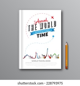 World Travel Book Template Design, can be used for Book Cover, Magazine Cover, vector illustration