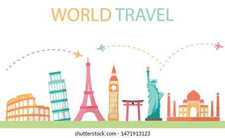 World Travel Business Concept. Landmark places on white background. Vector illustration modern flat design.