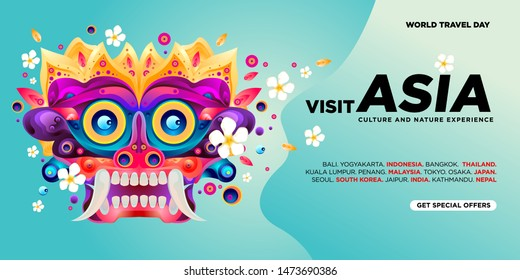 World Travel Day Asian Visit Banner Template. Vector Illustration of Indonesian Culture Mask and Puppet for Landing Page Banner.\n