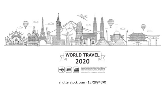 World travel doodle art drawing style vector illustrations. Famous landmarks in the world.