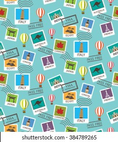 world Travel and famous tourism locations  seamless pattern, Endless texture can be used for wallpaper, pattern fills, web page, background, surface. vector illustration