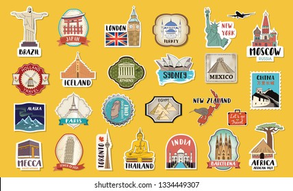 World Travel hand drawn tags, stickers and elements set with landmarks of the world.