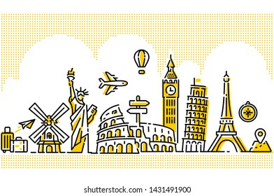 World Travel Illustration Flat Modern Line Designs