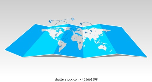 World travel map with airplanes.