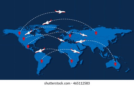 World travel map with airplanes and markers. Vector illustration. Modern flat design.